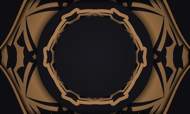 Baner in schwarz mit luxuriösem orangefarbenem muster und platz für ihr logo