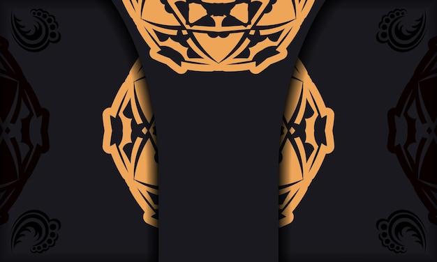Baner in schwarz mit luxuriösem orangefarbenem muster und platz für logo oder text