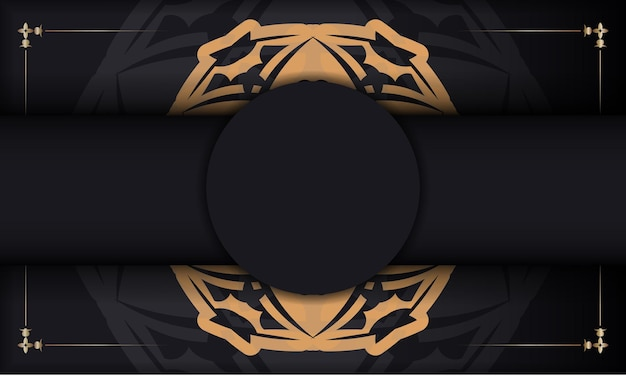 Baner in schwarz mit luxuriösem orangefarbenem muster und platz für text