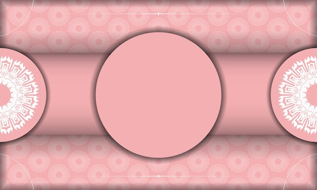 Baner rosa farbe mit mandala-weißer verzierung für design unter logo oder text
