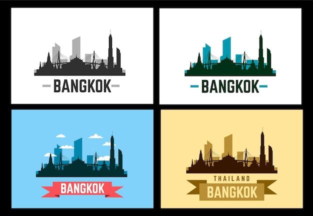 Bangkok satz von vektorillustrationen. skyline der stadt bangkok