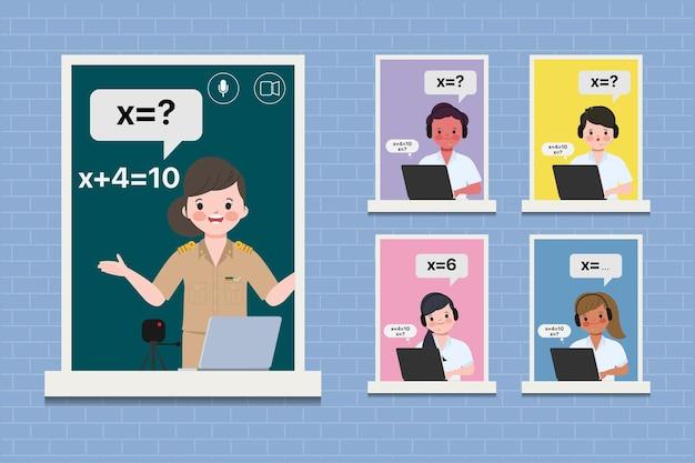 Bangkok student, der zu hause studiert. online-schulbildung mit internet-wlan-konzept.