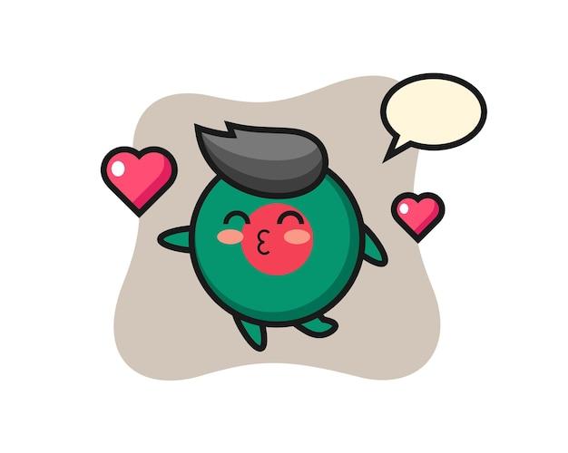 Bangladesch-flaggenabzeichen-charakterkarikatur mit küssender geste, niedlichem design für t-shirt, aufkleber, logo-element