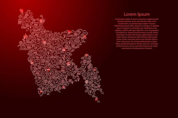 Bangladesch-karte aus roten und leuchtenden sternensymbolen mustersatz von seo-analysekonzept oder -entwicklung, geschäft. vektor-illustration.