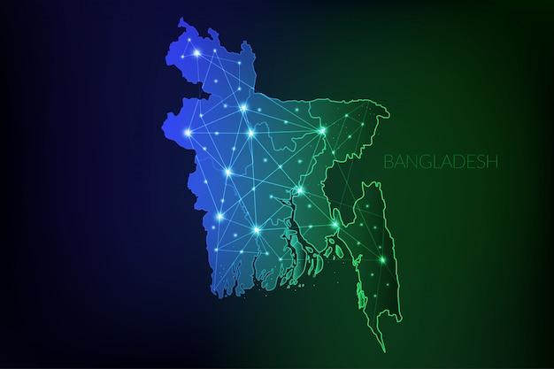 Bangladesch karte polygonal mit leuchtenden lichtern und linie