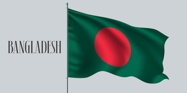 Bangladesch winkende flagge auf fahnenmastillustration