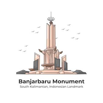 Banjarbaru monument indonesian landmark line cartoon illustration