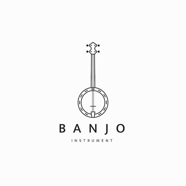Banjo-gitarren-musikinstrument-logo-symbol-design-vorlage flacher vektor