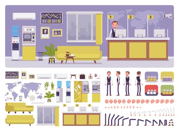 Bank-büroraum und kit zur erstellung männlicher manager