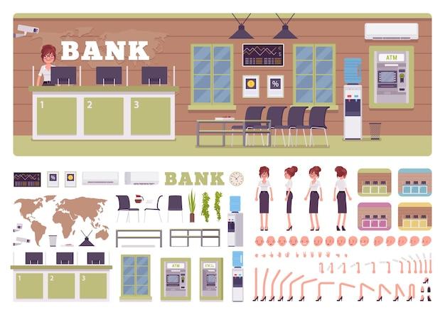 Bank-büroraum und weibliches manager-erstellungskit