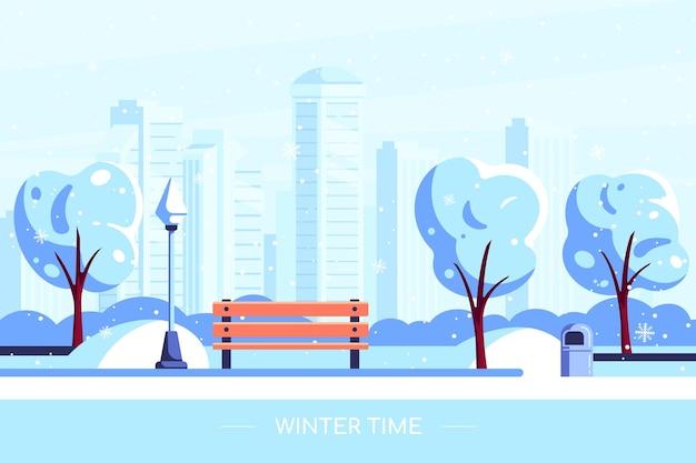 Bank im winterstadtpark. illustration des winterstadtparks mit schneebedecktem baum und großstadt auf hintergrund. winterferienkonzept im flachen stil.