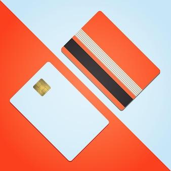 Bank-kreditkartenmodell vektor-illustration leere geschäftsvorlage auf farbigem hintergrund