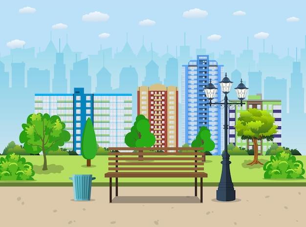 Bank mit baum und laterne im park Premium Vektoren