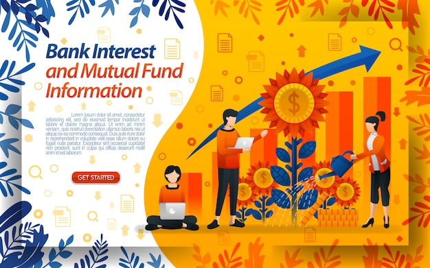 Bank of interest und investmentfonds mit illustrationen, die blumen gießen