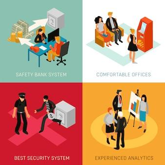 Bank people isometric concept