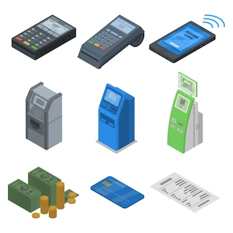 Bank-terminal-icon-set. isometrischer satz bankanschlußvektorikonen für das webdesign lokalisiert auf weißem hintergrund