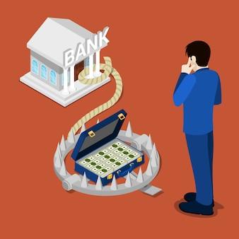 Bank trap. isometrische bank. bankkredit. geschäftsmann, der an gutschrift denkt.