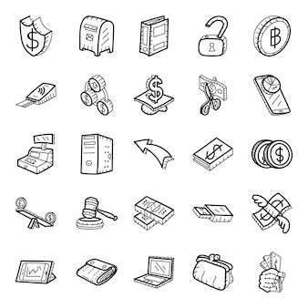 Bank- und finanzwesen-hand gezeichneter ikonen satz