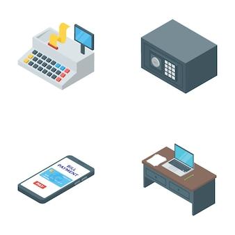 Bank- und finanzwesen-isometrische vektoren