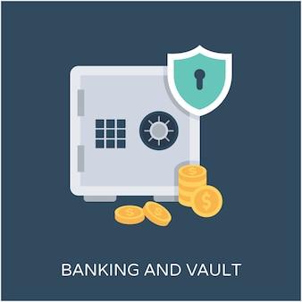 Bank vault flache vektor icon