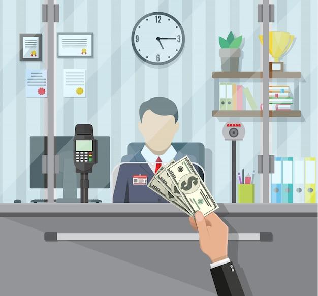 Bankangestellter hinter dem fenster