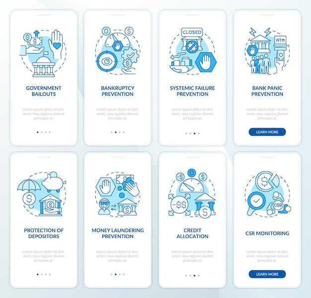Bankaufsicht beim onboarding der mobilen app-seitenbildschirmgruppe. walkthrough zur krisenprävention in 8 schritten, grafische anleitungen mit konzepten. ui-, ux-, gui-vektorvorlage mit linearen farbillustrationen