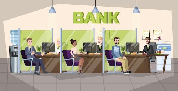 Bankbüro interieur. menschen machen finanzielle operationen