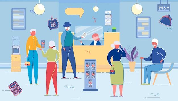 Bankbüro mit mitarbeitern bedienen ältere kunden.