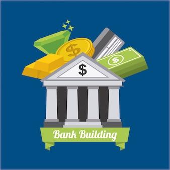 Bankdesign über blauer hintergrundvektorillustration
