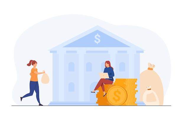 Banker nimmt kunden geld zum sparen. händler oder makler mit laptop, der an bargeld arbeitet. karikaturillustration