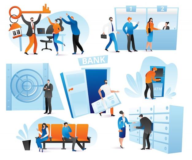 Bankfinanzdienstleistungen im bankensatz der illustration. kreditzahlung, schalter, kassierer, beratung und warteschlange für geldautomaten, geldwechsel. geld- und bankinterieurtransaktionen.