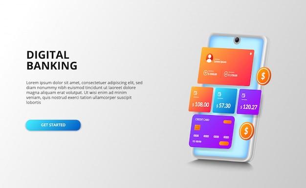 Bankfinanzierungs-dashboard-ui-designkonzept für zahlung, bank, finanzen mit kreditkarte, goldene münze, 3d-perspektive smartphone