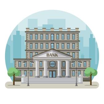 Bankgebäude in einer großen stadt Premium Vektoren
