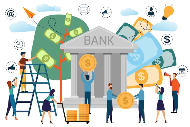 Bankgebäude mit einsparungskonzept infographics, kunden und personalleute in der bank.