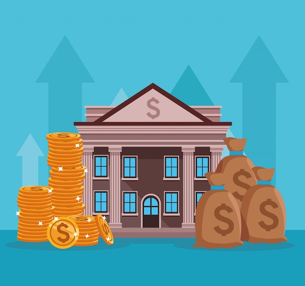 Bankgebäude mit geldsymbolen