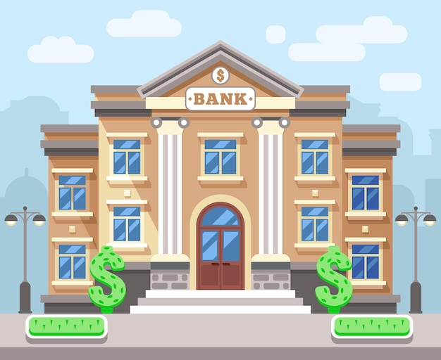 Bankgebäude mit stadtbild