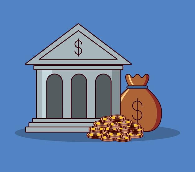Bankgebäude und geld design