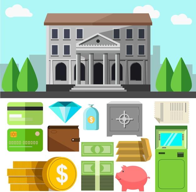 Bankgebäude und ikonen eingestellt.