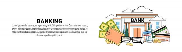 Bankgeschäfts-finanzkonzept-horizontale fahnenschablone