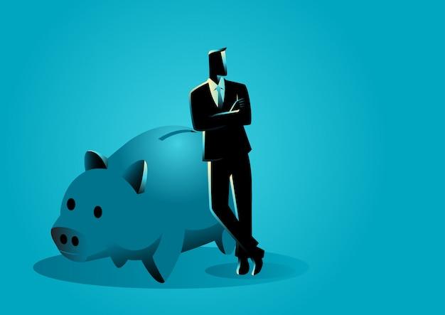 Bankier, der auf riesigem sparschwein sich lehnt
