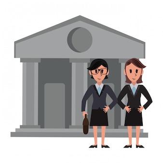 Bankiers über Bankgebäude