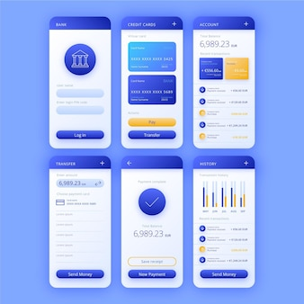 Banking app interface set