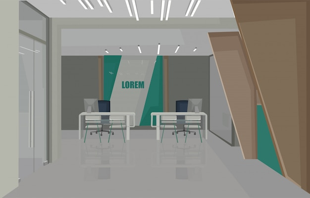 Bankinnenarchitekturkonzept mit grünen farben. stühle zum warten