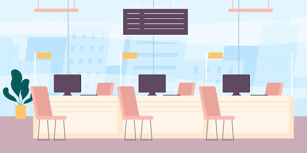 Bankinnenraum. empfangsbereich mit theke und computer. desk für die kundenberatung im kredit- oder finanzbereich. flacher bankbürovektorarbeitsplatz. leerer raum mit helpdesks für kunden