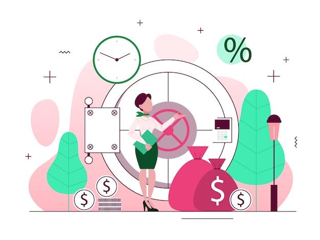 Bankkonzept. idee von finanzeinkommen, geld sparen und wohlstand. einzahlung eines beitrags bei der bank. illustration mit stil