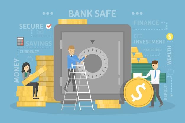 Bankkonzeptillustration. die leute legen ihr geld in den safe. idee des finanziellen schutzes, der geldanlage und anderer operationen. satz bankensymbole. isolierte flache vektorillustration