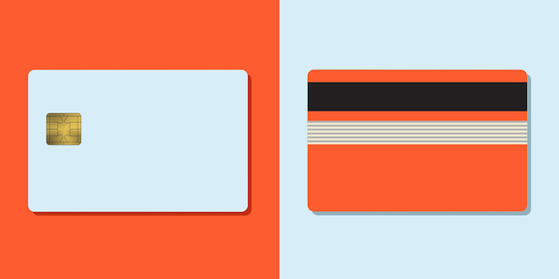 Bankkreditkartenvektormodell leere geschäftsschablone auf farbigem hintergrund