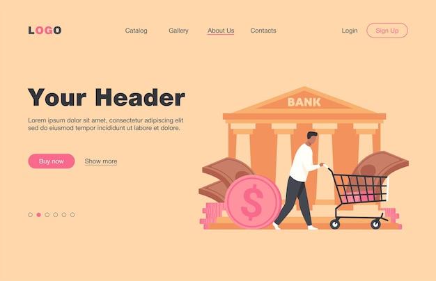 Bankkunde bekommt darlehen. man wheeling cart mit cash flat landing page. finanzen, geld, bankwesen, servicekonzept für banner, website-design oder landing-webseite
