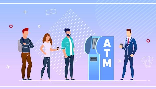 Bankkunden mit einem geldautomaten
