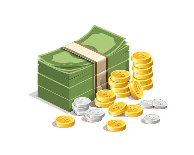 Banknoten- und goldmünzen mit silbermünzen.